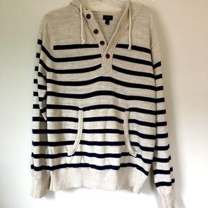 J. Crew Cream White Black striped hooded Pull Over All Cotton Sweater Size M